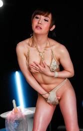 Japanese Mom Sex Toys - Mami Asakura Asian rides fake cock and uses vibrator for orgasms