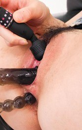 Hairy Milf Asian - Rio Kagawa Asian fucks her asshole and cunt with many vibrators