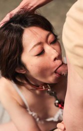 Japanese Mom Nurse - Rio Kagawa Asian in leash sucks boners and gets cum in her mouth