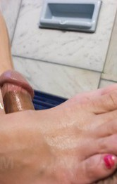 Milf Asian Bukkake - Ruhime Maiori gets cum in mouth after rubbing dick with her feet