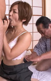 Asian Mom Lesbian - Meguru Kosaka Asian is fingered in shaved pussy by dick she sucks