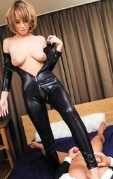 Milf Japanese Lingerie - Sumire Matsu Asian has slit licked through latex and rides tool