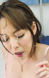 Asian Milf Bukkake Porn - Akari Asagiri Asian with big cans has cum on face from penises