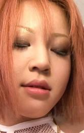 Milf Japanese Mini Skirt - SARA Asian doll rubs her beaver in fishnet thong and fondles tits