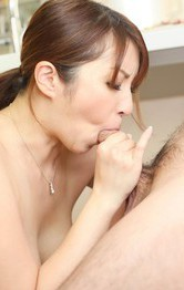 Asian Hairy Mom - Araki Hitomi Asian sucks tool till can feel the taste of the cum