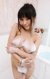 Milf Japanese Models - Kyouko Maki Asian sucks woody at shower and fondles her boobs