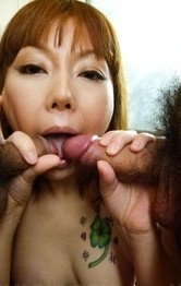 Hot Milf Asian Videos - Minami Kitagawa Asian arouses pussy under shower and sucks cocks