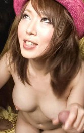Japanese Mom Group - Sayaka Tsuzi Asian with big assets gets cum on them from blowjobs