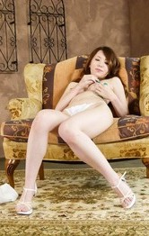 Milf Japanese Facial - Yui Hatano Asian rubs her pussy and fondles tits before blowjob