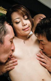 Milf Japanese Feet - Maki Hojo Asian has cunt, hands and mouth busy with three dongs
