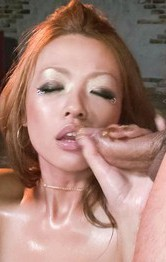 Milf Asian Double Penetration - Rei Miyakawa Asian licks dong and gets in shaved and oiled pussy
