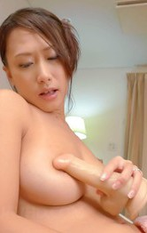 Milf Asian Blowjob - Yayoi Yanagida Asian fucks twat with fake penis after shower