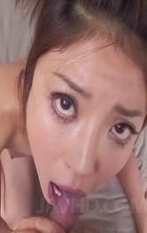 Milf Japanese Public Sex - Mafuyu Hanasaki Asian drives man wild sucking and licking tool