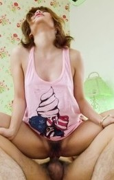 Hot Milf Japanese Videos - Junna Hara in pink outfit fucks dong with her very willing pussy
