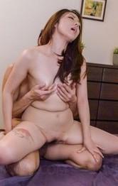 Japanese Mom Handjob - Maki Mizusawa Asian is fucked through stockings by licked penis