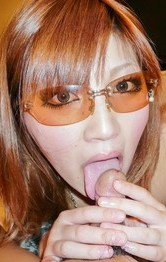 Asian Milf Facial Porn - Mariko Asian nymph plays with tongue on balls and on phallus