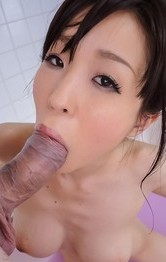 Asian Mom Mini Skirt - Miina Kanno sucks strong penis at shower and gets it between cans