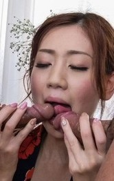 Japanese Mom Stockings - Kaori Maeda Asian in kimono sucks dicks and is nailed in vagina