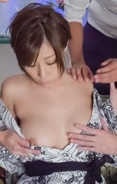 Asian  Teacher Sex - Chihiro Akino Asian gets cum in and on mouth from sucked boners